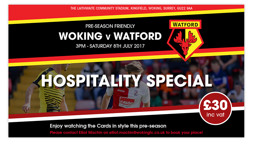 Hospitality for the Cards friendly against Watford